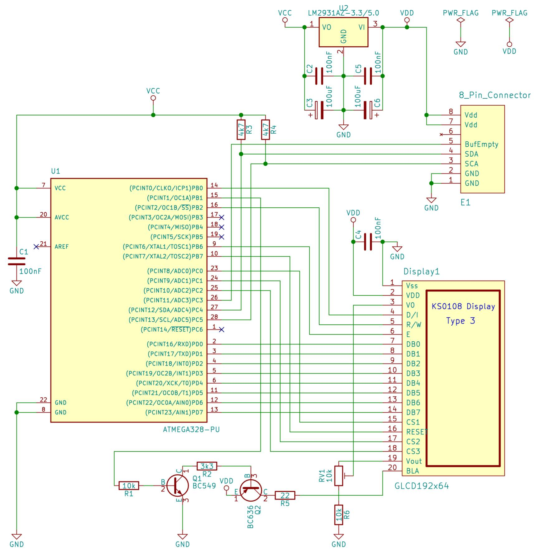 Schaltplan des I2C GLCD Interfaces