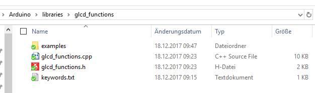 glcd-Bibliothek im Libraries-Folder der Arduino-Umgebung