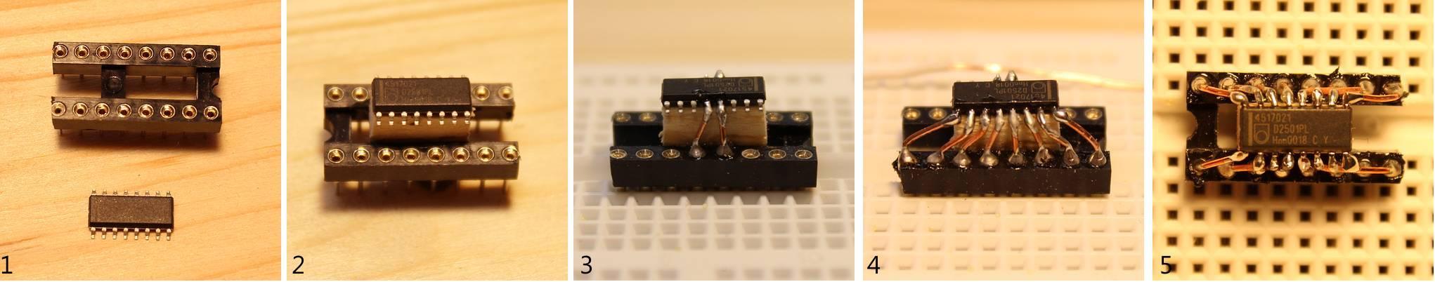 Montage des SMD-Chips auf einer IC-Fassung
