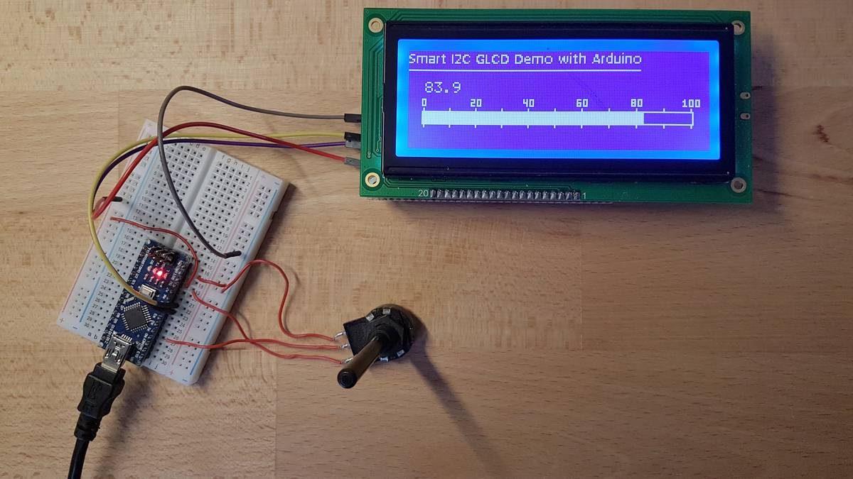 Smart I2C GLCD am Arduino: Ein einfaches Beispiel