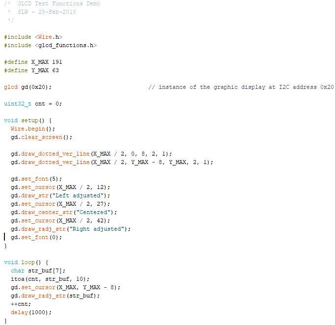 Arduino Beispiel-Programm, das die drei Funktionen der Text-Ausgabe zeigt.